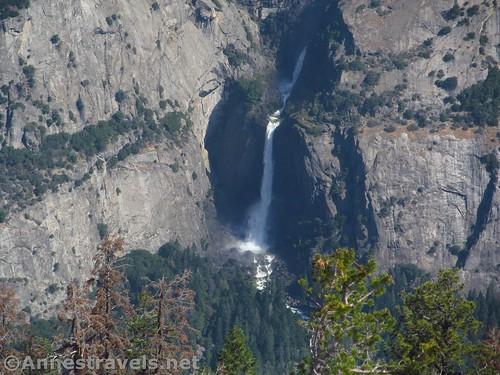 Close up of Lower Yosemite Falls from Sentinel Dome, Yosemite National Park, California