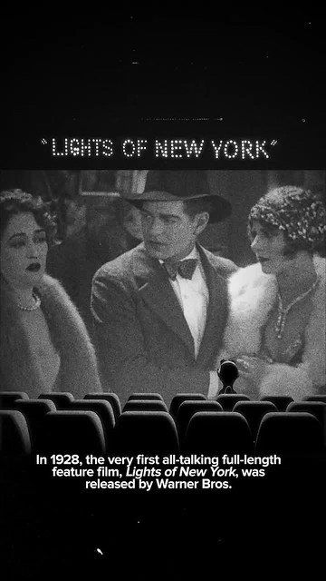 In 1928, the very first all-talking full-length feature film, Lights of New York, was released by Warner Bros. 90 years ago. (07/06/18) #timehop #abe #kittylewis #helenecostello #warnerbrospictures #bryanfoy #lightsofnewyork #precode #crimedramafilm 