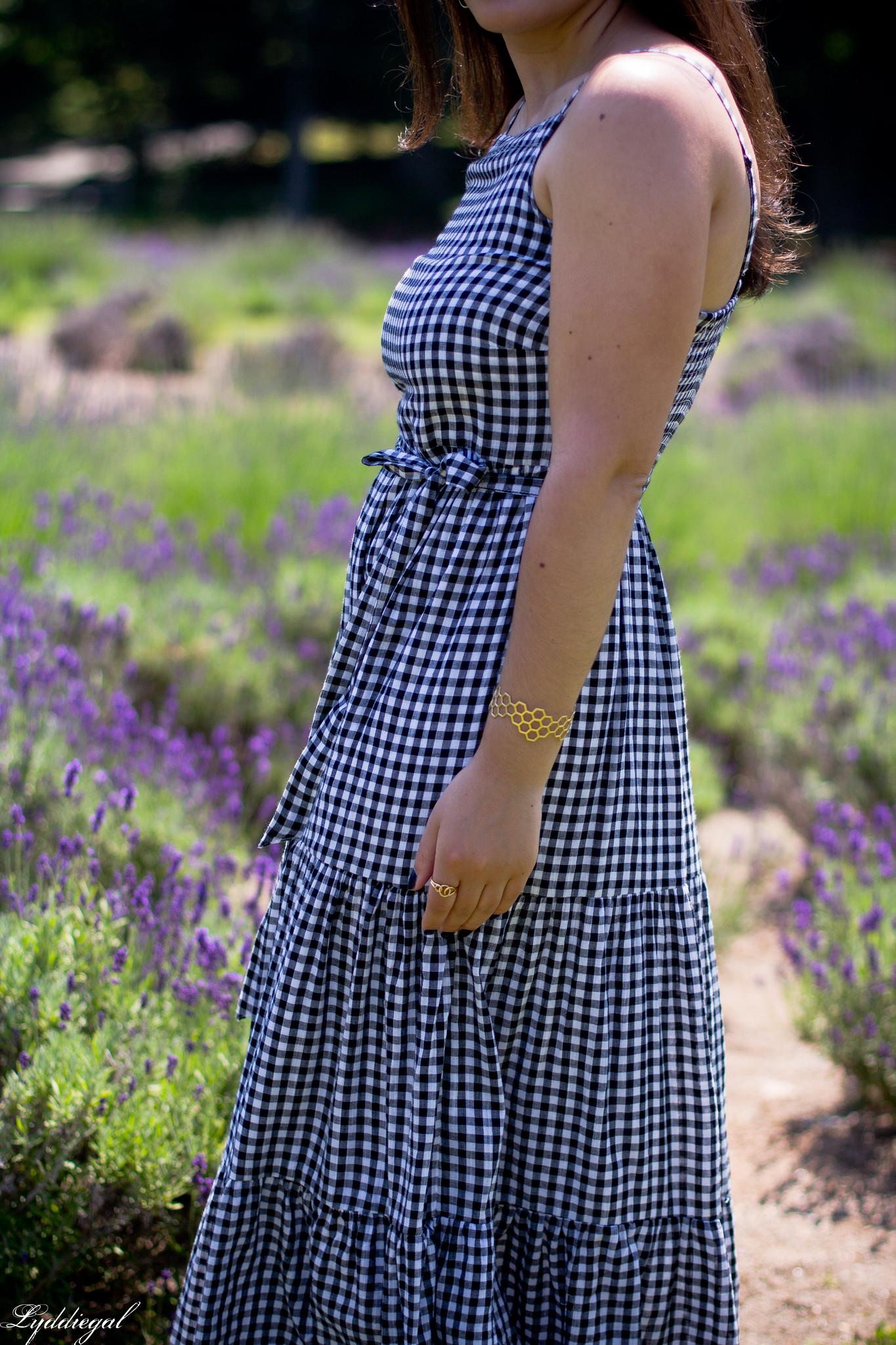 gingham maxi dress, pinata tote bag, lavender field-13.jpg