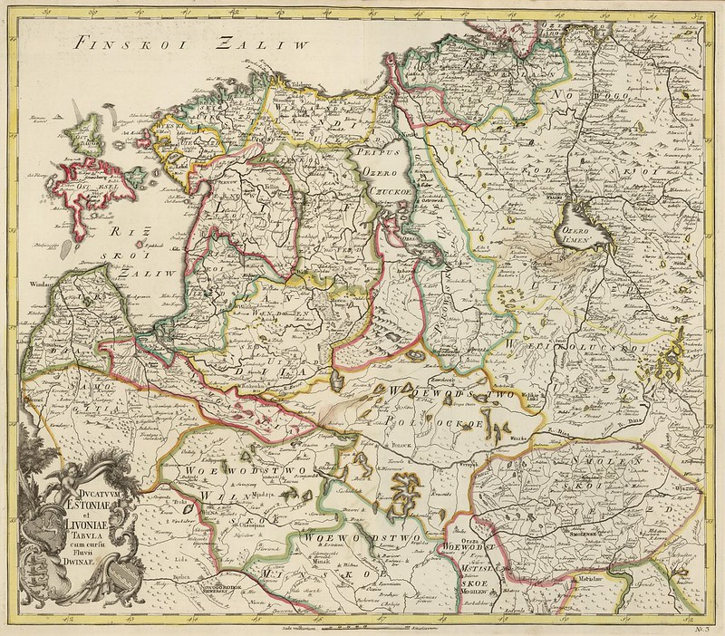 Joseph-Nicolas Delisle - Ducatuum Estoniae et Livoniae Tabula cum cursu Fluvii Dwinae (1745)