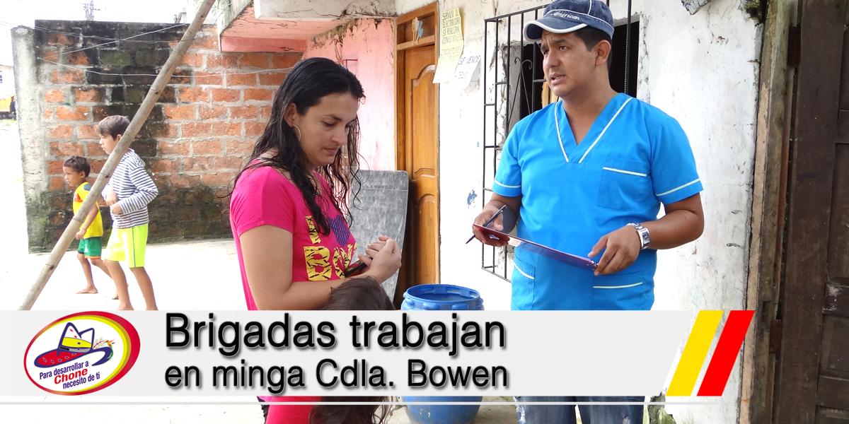 Brigadas trabajan en minga Cdla. Bowen