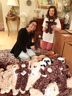 Rotary e-Club Houston members Cristal Montanez and Isis Mejias preparing Bear Hugs for Venezuela care packages