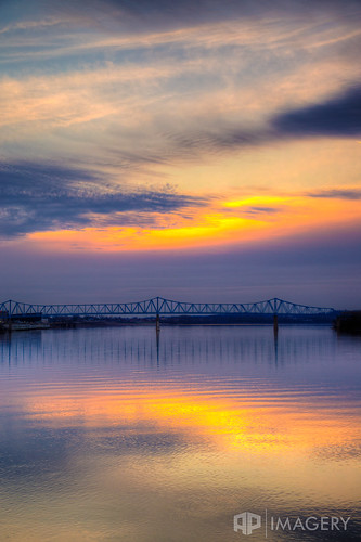 blue ohioriver sunset cary water sky landscape kentucky reflection bridge