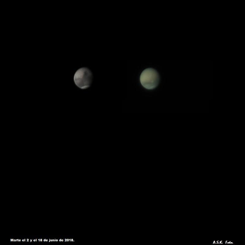 Marte con y sin tormenta de arena.