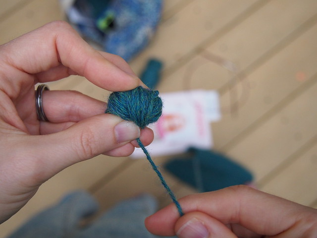 Turning (part of) a sweater back into yarn.