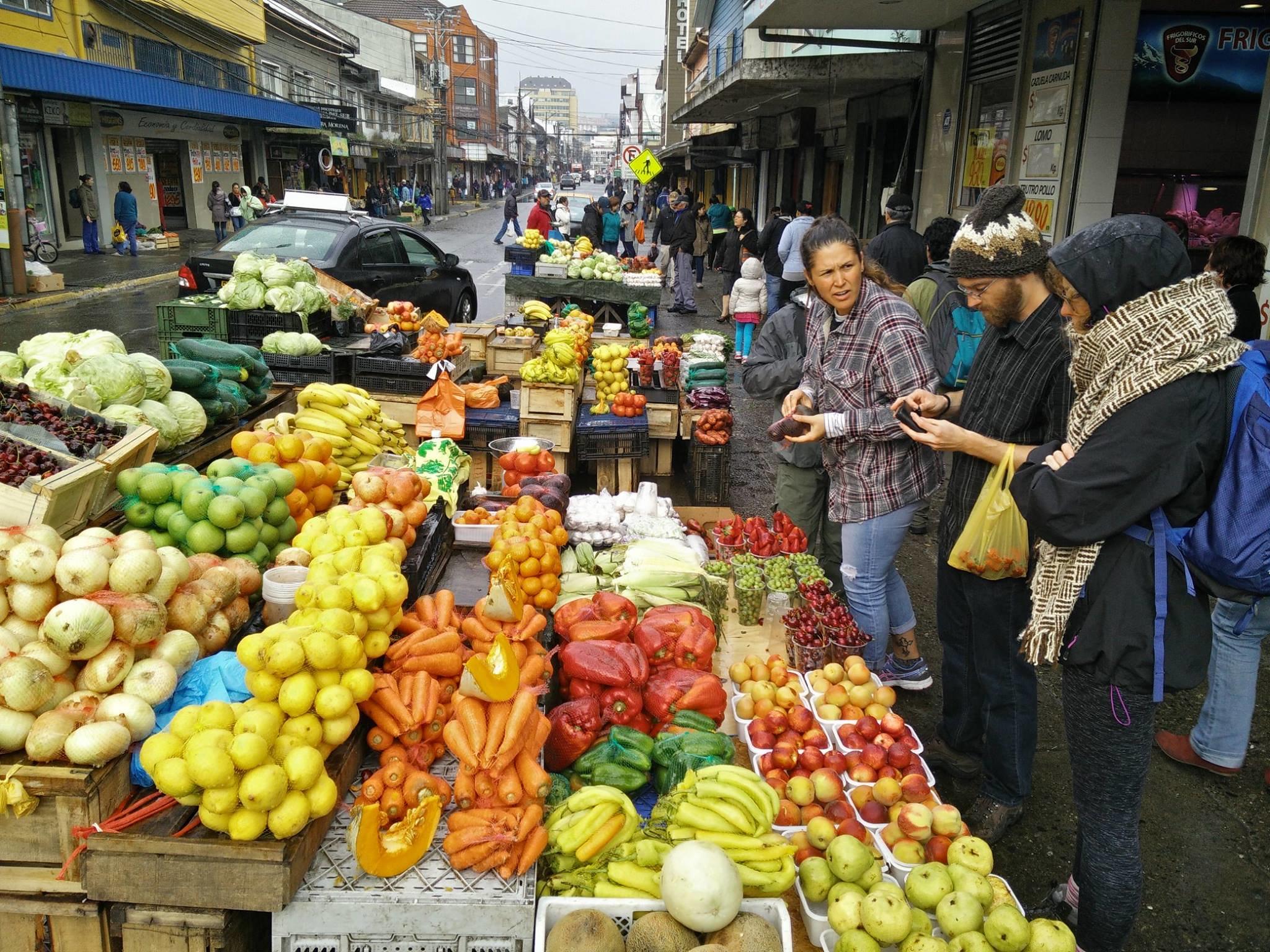 Us buying fruit in Puerto Montt