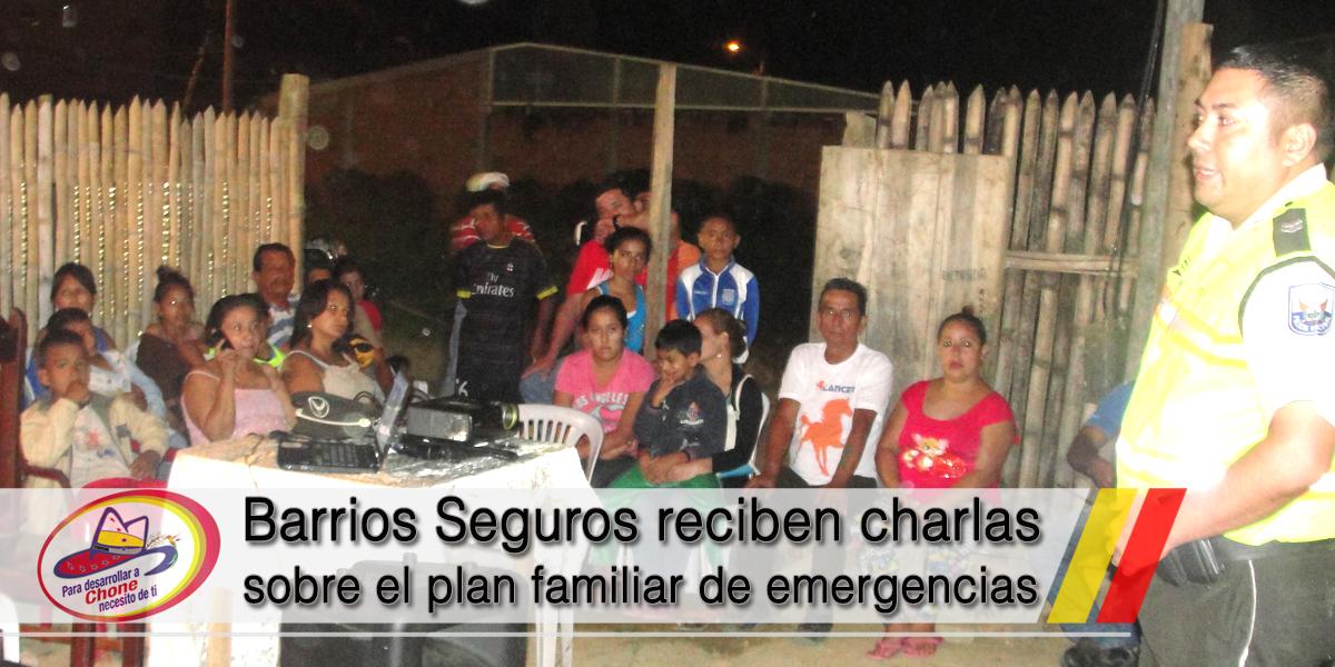 Barrios Seguros reciben charlas sobre el plan familiar de emergencias