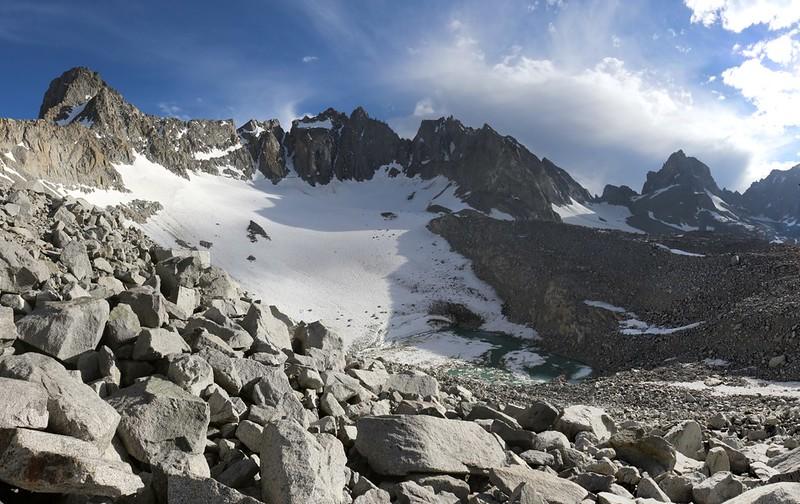 Sill, Polomonium, Starlight, North Palisade, Thunderbolt, and Winchell above the Palisade Lake and Glacier