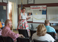 State Representative Stephanie Cummings (R-74) recently hosted a successful, informative DOT meeting to update residents regarding the temporary closure of the Harpers Ferry Road Bridge and other construction that will affect the East End.  The meeting, held at the Waterbury ARC, located at 1929 East Main St., drew more than a dozen concerned citizens who listened intently to a presentation by Project Engineer Christopher Zukowski.  During the meeting, Mr. Zukowski, in great detail, explained the overall scope of the project, what's already been completed and what the next stages are before answering questions from the audience.  He explained that the Harpers Ferry Road bridge closure will be substantially shorter than initially planned – 8 weeks down from a projected 8 months – before adding they were aiming to have three lanes in each direction open by October. DOT is also working to re-time the traffic lights around the project to minimize delays and handle traffic changes as they occur, he said. They're also projecting the Scott Road Bridge will be full width by October, they will mill and replace exit 23 and the project will be substantially complete by Christmas 2018 - well before the original date of June 2020.