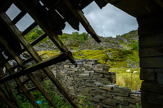 View through the timbers, Cwm Machno Slate Quarry