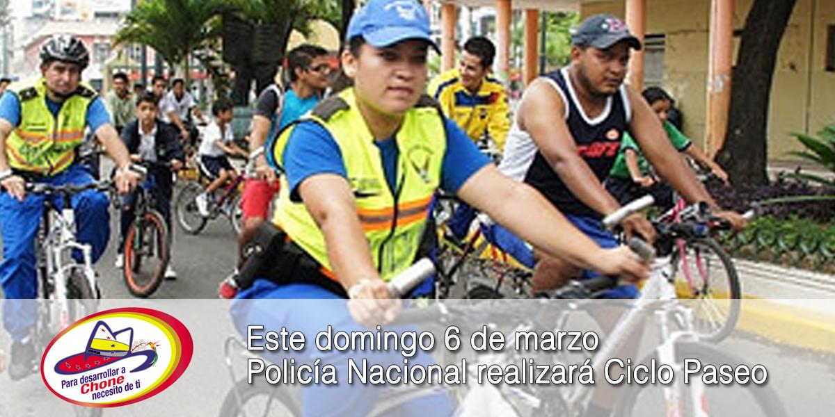 Este domingo 6 de marzo Policía Nacional realizará Ciclo Paseo