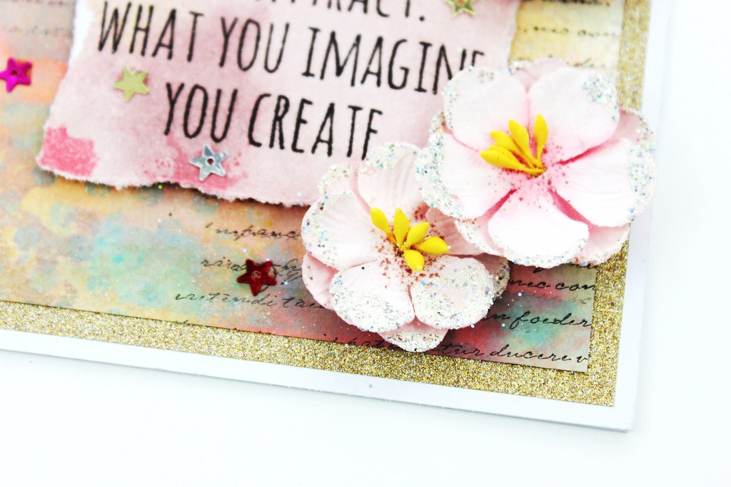 Meihsia Liu Simply Paper Crafts Mixed Media Card Sparkle Simon Says Stamp Tim Holtz Prima Flowers 6