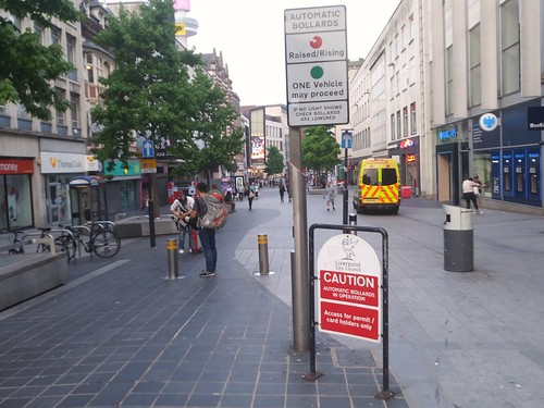 Liverpool's pedestrianized City Centre shopping district and a retractable bollard system