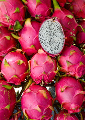 Dragon fruits for sale at rural market