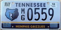 Memphis Grizzlies License Plate (Tennessee) Basketball NBA