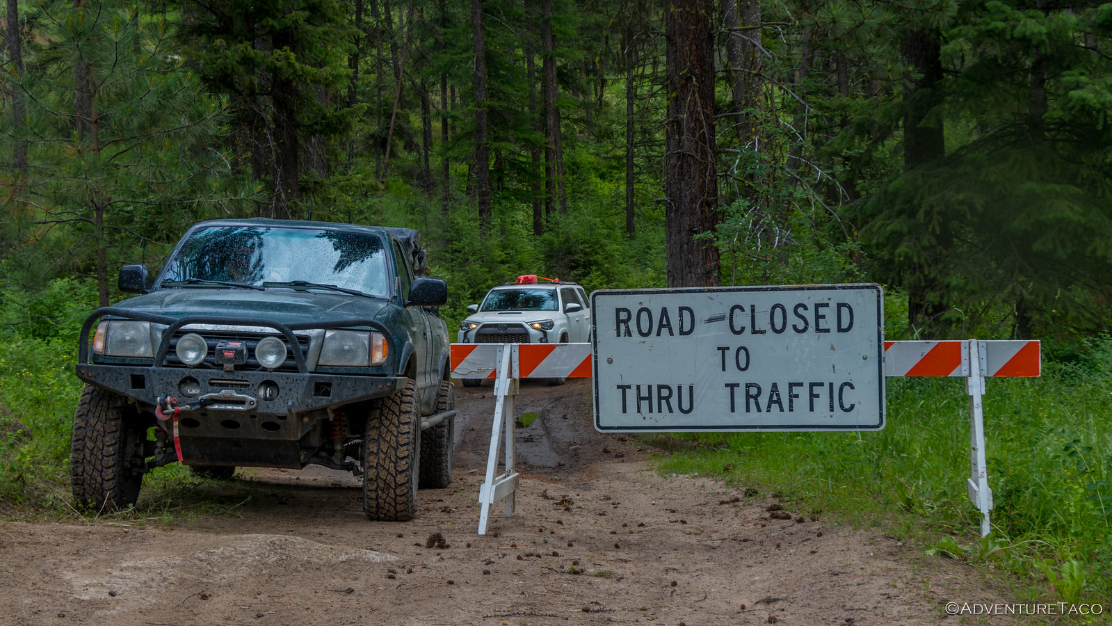 toyota tacoma, 4Runner on closed dirt road