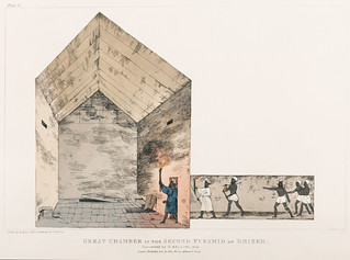Plate 12 : Great Chamber in the interior of the Pyramid illustration from the kings tombs in Thebes by Giovanni Battista Belzoni (1778-1823) from Plates illustrative of the researches and operations in Egypt and Nubia (1820).