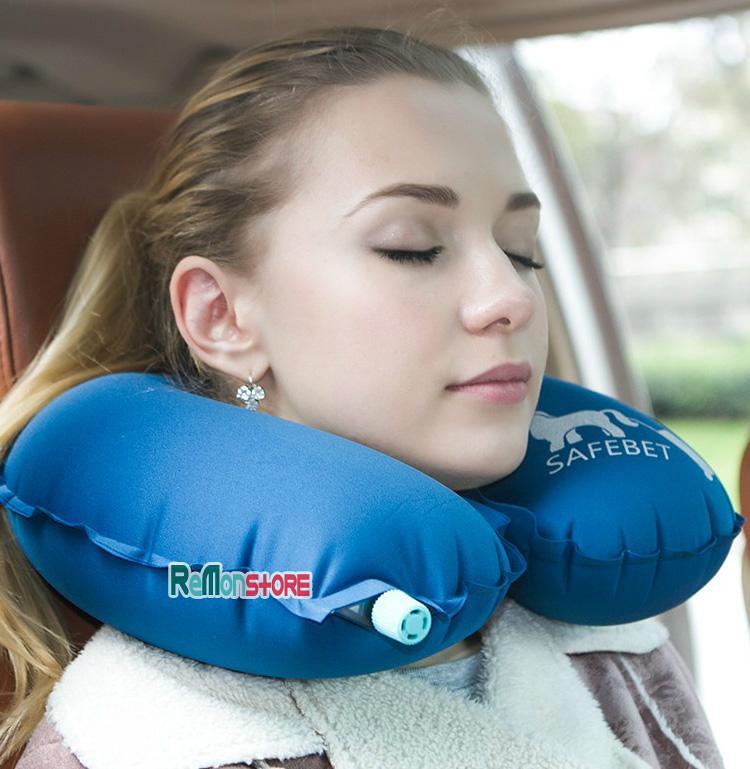 Gối kê cổ chữ U chống mỏi du lịch Safebet cao cấp Van hơi tự khóa - D-Blue