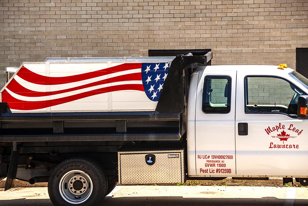 American flag on lawncare truck--Pennsauken