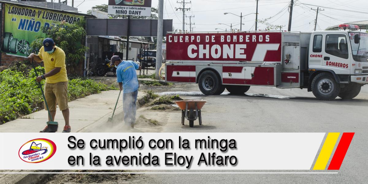 Se cumplió con la minga en la avenida Eloy Alfaro