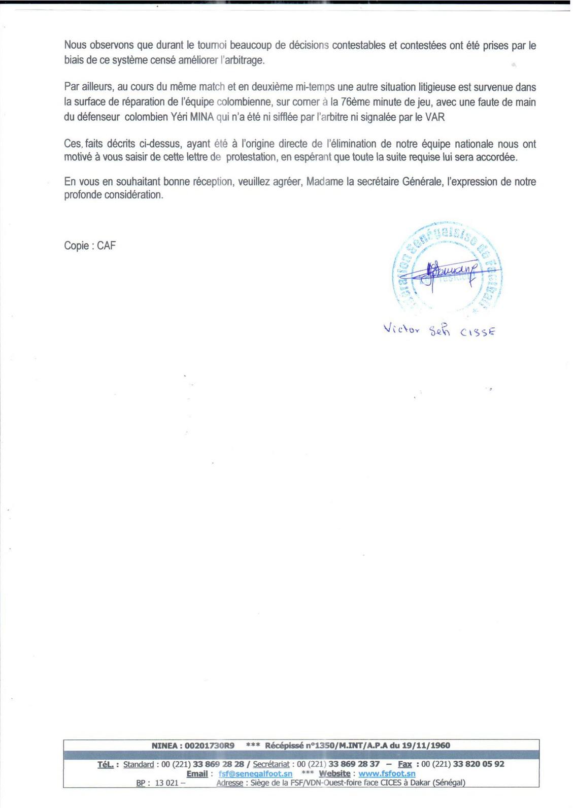 Lettre de Protestation de la Fédération Sénégalaise de Football adressée à la FIFA (1)
