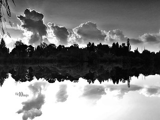 bäume und wolken im wasser gespiegelt trees and clouds reflected in water upside down I