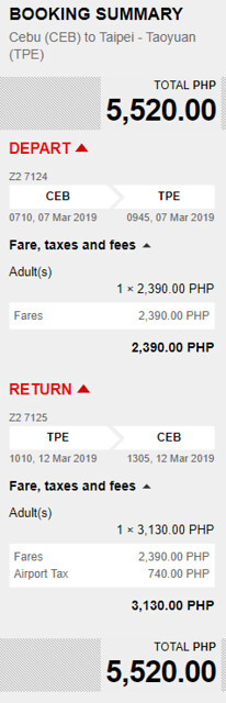 Cebu to Taipei Promo March 7 to 12, 2019