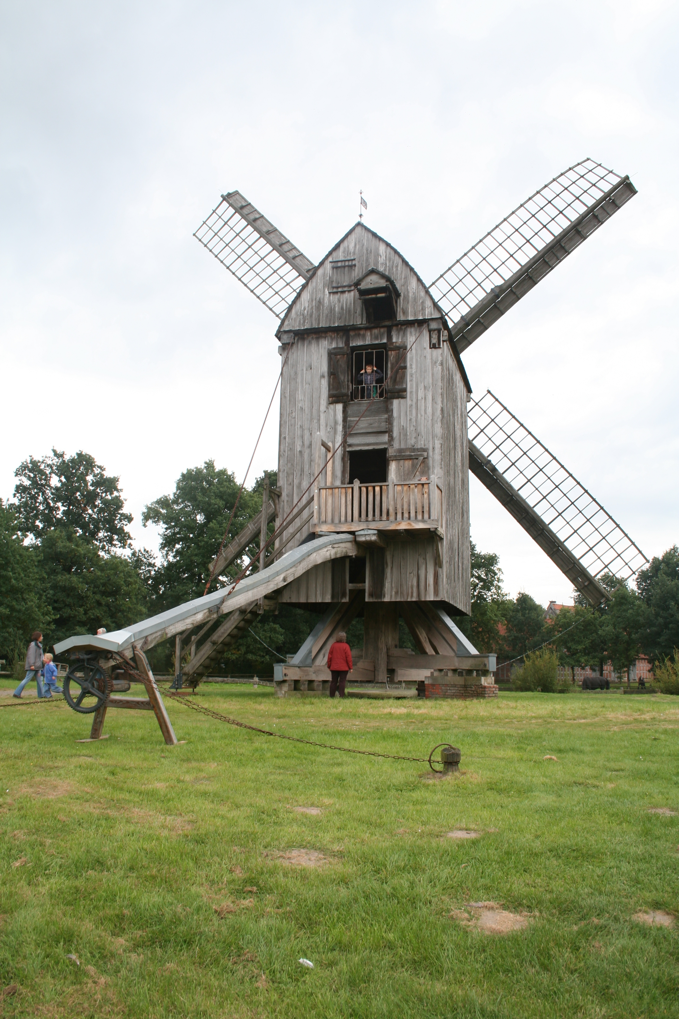 Post mill, rebuild in the open air museum Cloppenburg, Germany. The mill has presumably been build in 1683 at Essern, District of Nienburg Germany. Photo taken on September 21, 2008.