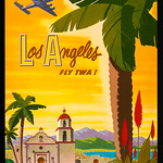 Tue, 1957-01-01 00:00 - Title: Los Angeles - fly TWA! / Bob Smith. Creator(s): Smith, Robert Harmer, 1906-1980, artist  Date Created/Published: [United States] : [Publisher not identified], [1950s]  Medium: 1 print : color lithograph ; sheet 102 x 64 cm (poster format)  Summary: Poster shows airplane flying over palm trees and Spanish mission church near lake.  Reproduction Number: LC-DIG-ds-11693 (digital file from original)  Rights Advisory: Rights status not evaluated. For general information see 'Copyright and Other Restrictions...,'(www.loc.gov/rr/print/195_copr.html)  Call Number: POS - US .S627, no. 1 (C size) [P&P]  Repository: Library of Congress Prints and  Photographs Division Washington, D.C. 20540 USA hdl.loc.gov/loc.pnp/pp.print  Trans World Airlines--Public relations--1950-1960. Mission churches--California--Los Angeles--1950-1960. Palms--California--Los Angeles--1950-1960. Air travel--1950-1960.  Format: Lithographs--Color--1950-1960. Posters--American--1950-1960.  Collections: Posters: Artist Posters  Bookmark This Record:     www.loc.gov/pictures/item/2018646005/