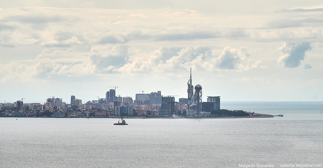 View to the Batumi embankment from the distance sea