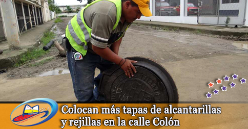 Colocan más tapas de alcantarillas y rejillas en la calle Colón