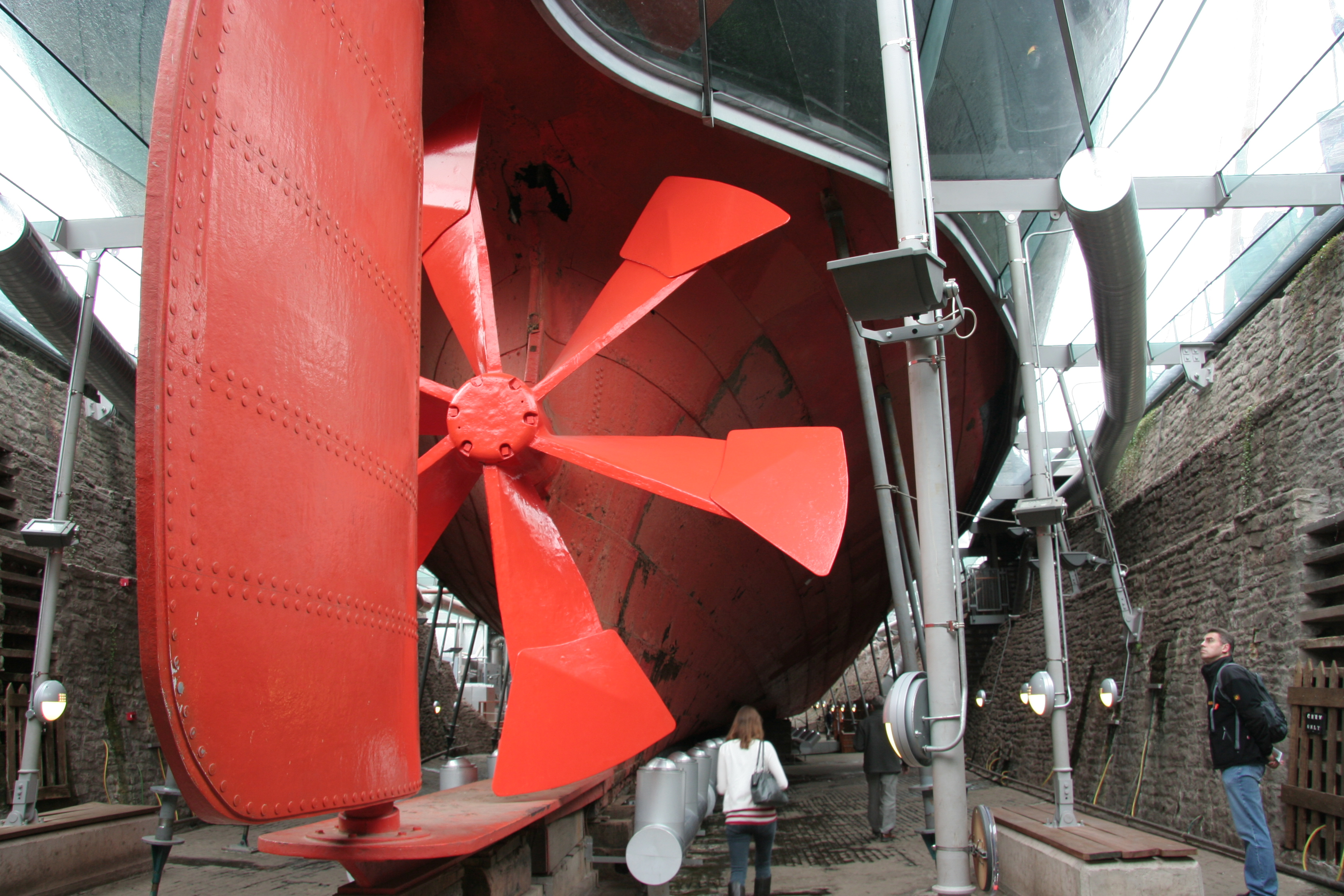 Replica of Great Britain's original six-bladed propeller on the museum ship. This propeller proved totally unsatisfactory in service and was quickly replaced with a four-bladed model. Photo taken on September 27, 2008.