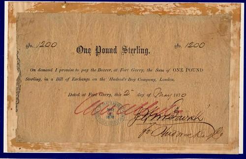 Hudson's Bay Company £1 1870 Promissory note
