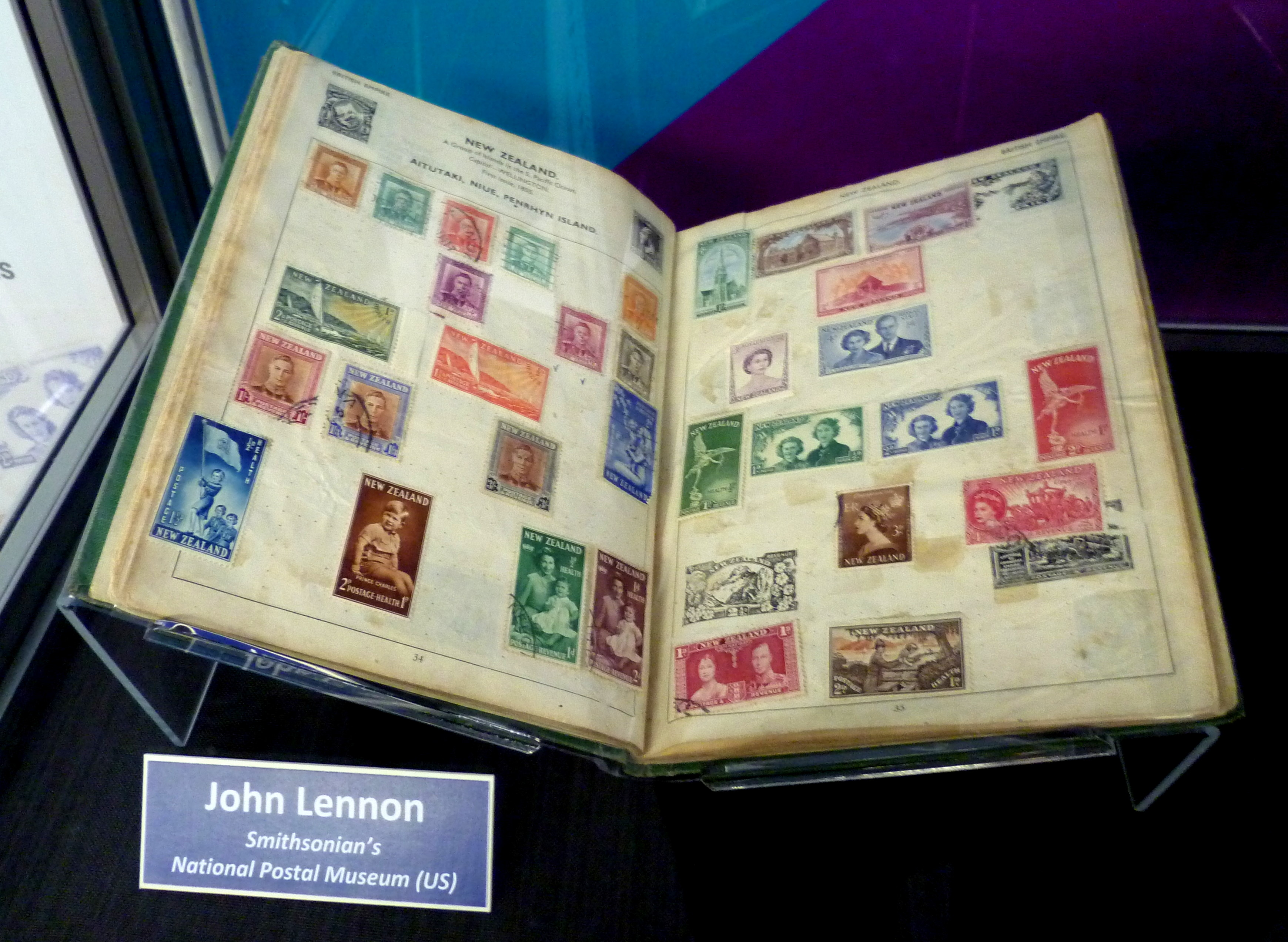 John Lennon's childhood stamp collection at the Smithsonian's National Postal Museum in Washington, D.C. Photo taken on September 17, 2016.