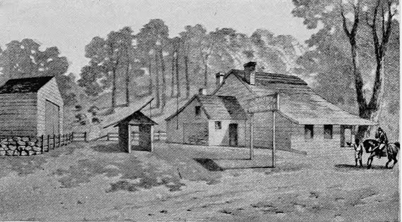 Howard's Tavern as it appeared in 1776; it was demolished in 1880. The tavern was located near the present-day intersection of Fulton Street and Jamaica Avenue.