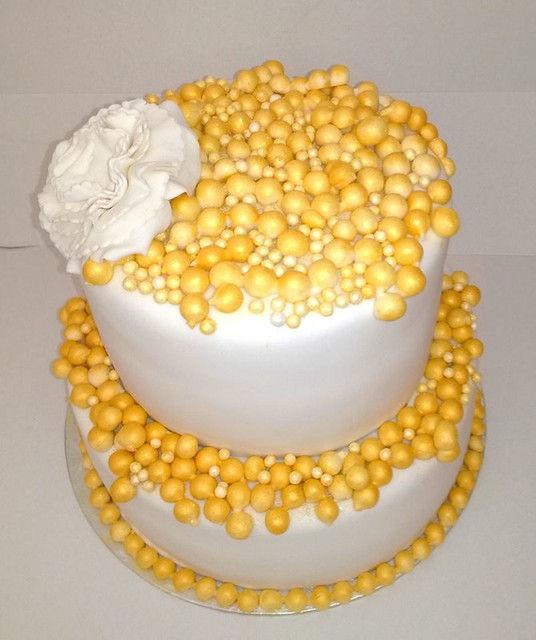 Gold and White Bubble Cake by Parties and Cakes