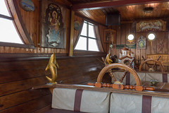 Interior of a Greek touring ship with religious motifs