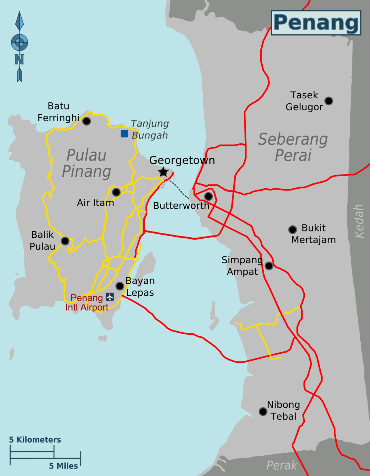 Map of the State of Penang, Malaysia