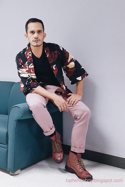 halfwhiteboy - printed kimono cardigan and old rose pants 02
