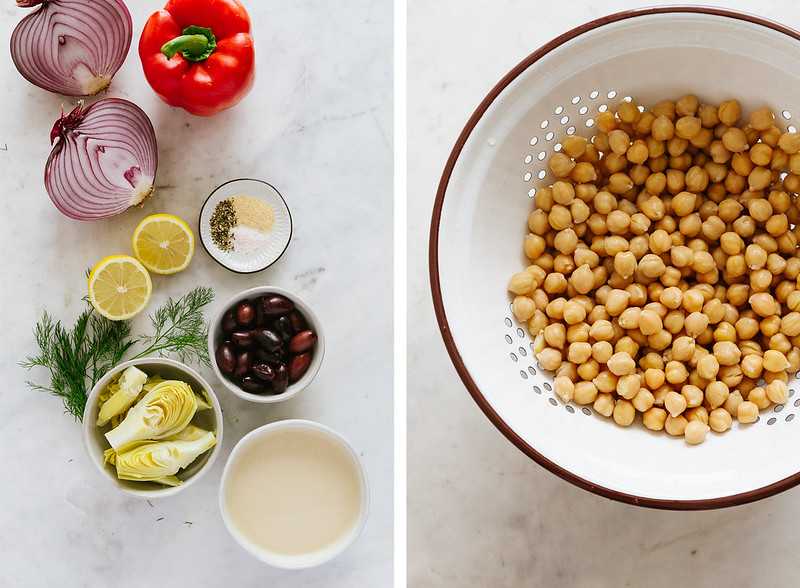 MASHED MEDITERRANEAN CHICKPEA SALAD: gather your ingredients