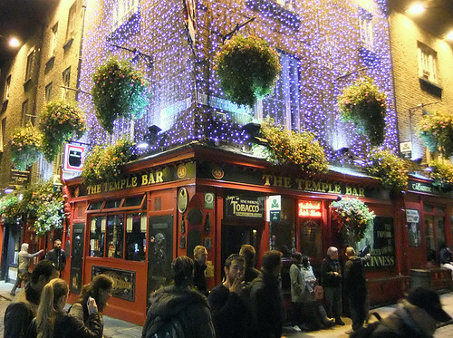 The Temple Bar at night in the Temple Bar District in Dublin, Ireland