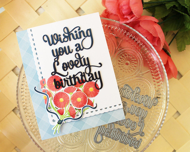 LizzieJones_PapertreyInk_August2018_SayItSimply_ScallopStackers_BouquetLovelyBirthdayCard