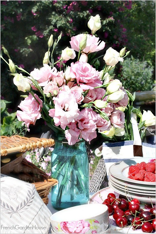 French-Country-Picnic-Pink-lisianthus-Bouquet-in-Antique-Aqua-Canning-jar