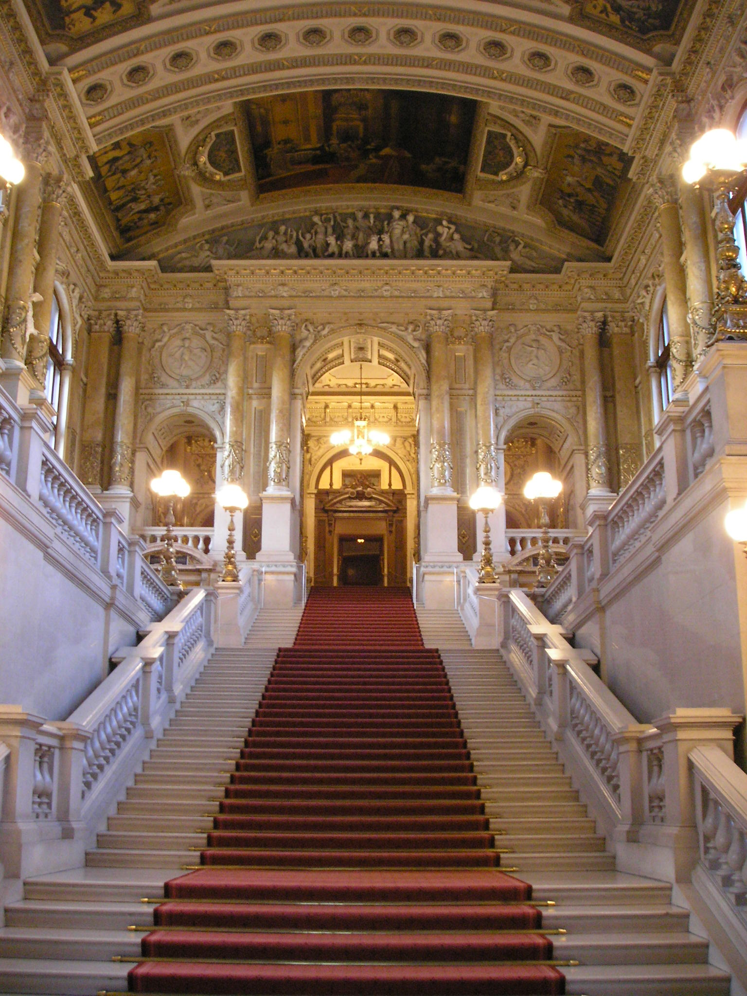 Imperial Staircase at Burgtheater in Vienna, Austria. Photo taken on September 9, 2006.