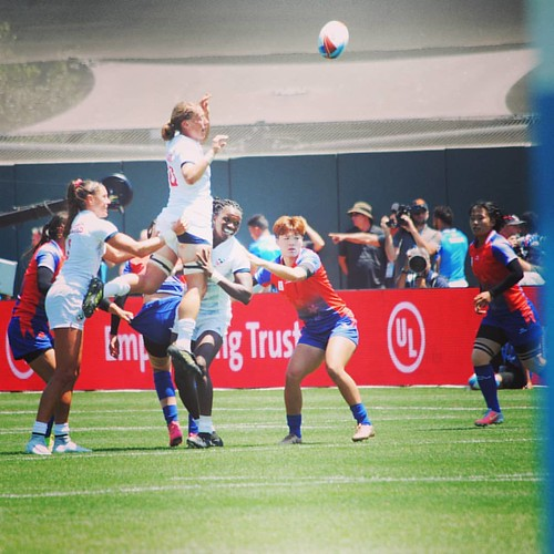 USA v China women - Friday session.  Always a competitive game be socca or #rugby #rugbygirls #rwc7s #attpark line in grab