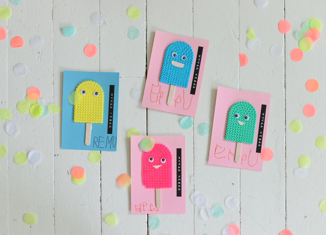 Fun DIY Hama bead popsicle greeting cards
