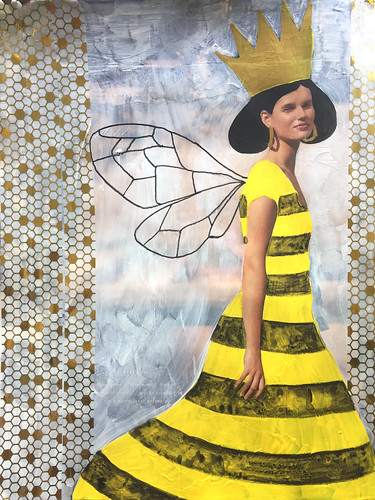 32 & 28 - Queen Bee - Finished Art Journal Page