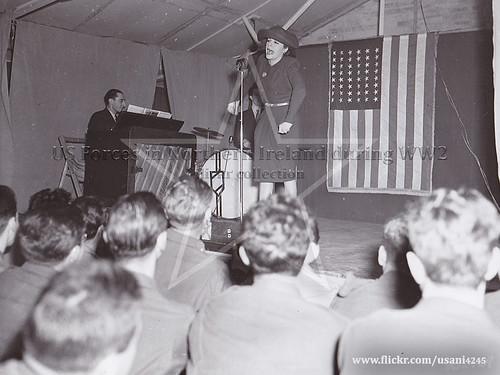 Martha Raye at Kircassock House, USO tour, December 1942