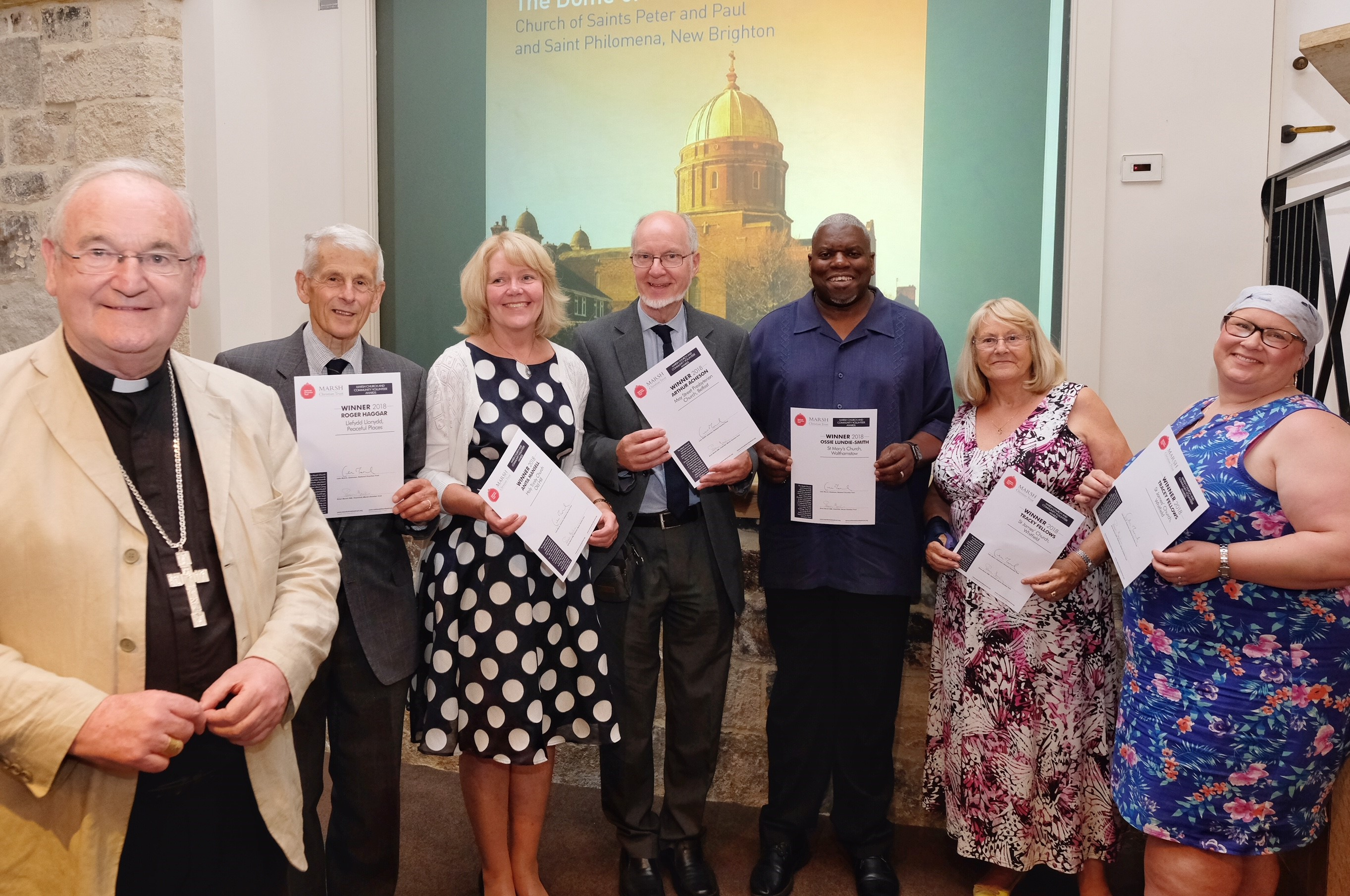 Bishop George Stack with winners of Marsh Church and Community Volunteer Awards: Roger Haggar; Anita Mansell; Arthur Acheson; Ossie Lundie-Smith; Joyce Phillips (guest of Tracey Fellows); Tracey Fellows c Mike Swift