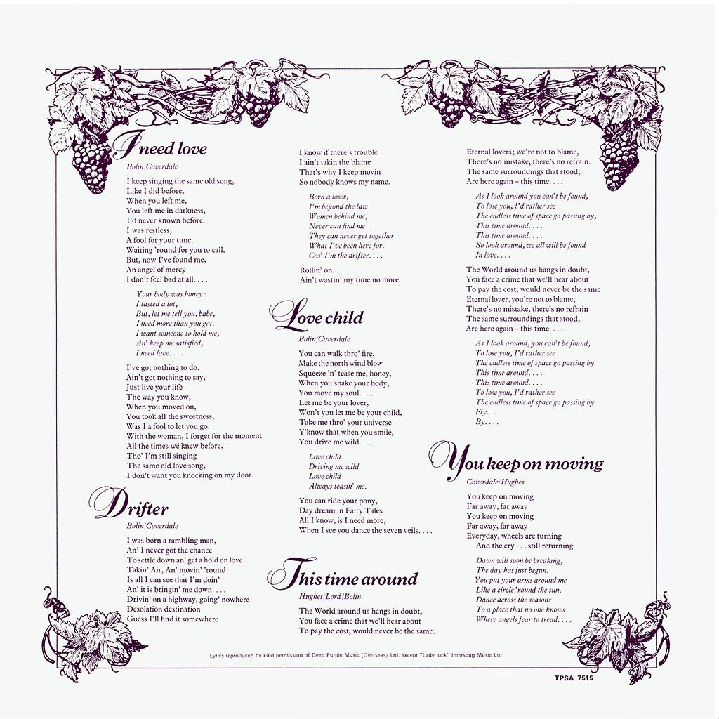 Deep Purple - Come Taste The Band - UK LP Inside 2